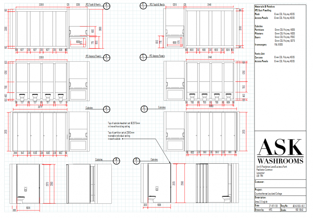 Technical drawings of School Washroom Cubicles